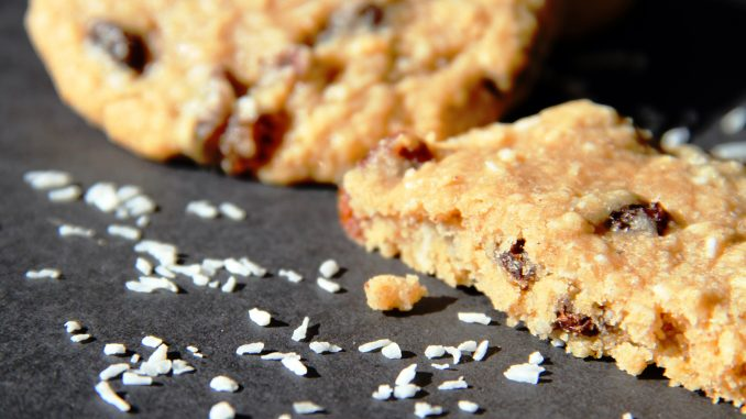 Oatmeal, coconut, and raisin cookies