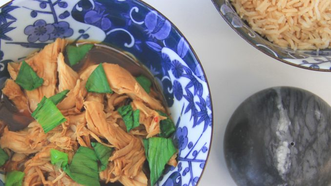 Poached chicken with pak choi